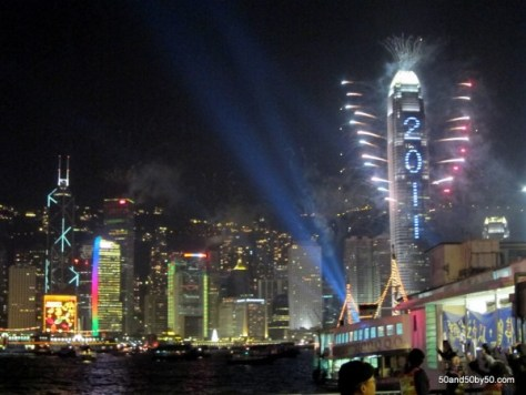 Hong Kong skyline on New Year's Eve