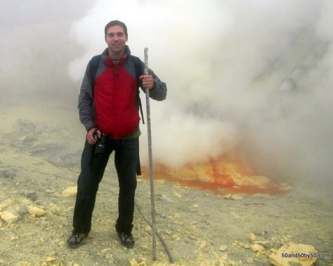 Standing in front of the sulfur mine at Kawah Ijen volcano | Java, Indonesia