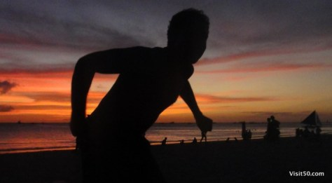 Just before a sunset silhouette jumping pic in Boracay, Philippines