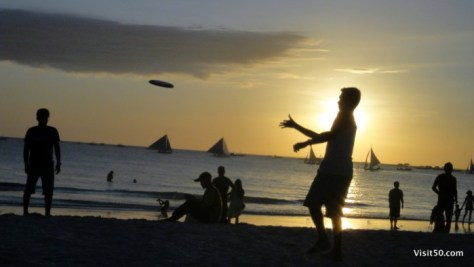 Frisbee Silhouettes! The Boracay beaches were fairly empty until around 5pm, when the sun began to set