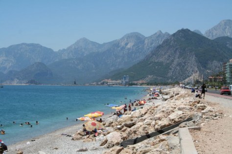 Antalya Beach, with impressive mountains, in Antalya, Turkey