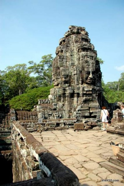 Facing in four directions on each Bayon tower, the faces are thought to represent Lokeshvara, a Buddhist deity that projected benevolence outward to the four directions.. Cambodia