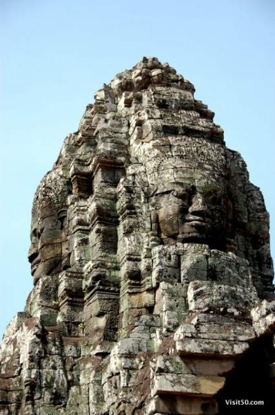 faces on the temples, in the ruins in Angkor Thom area in Cambodia