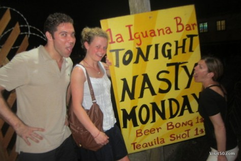 La Iguana Bar drink specials - $1 tequila shots on Nasty Mondays. We had a few too many $1 Tequila shots... Bocas del Toro nightlife in Panama