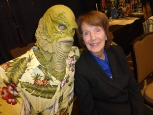 "LAGOONIN' GOOD--Julie Adams poses with a ""creatster"" tribute artist in homage to her pre-Mayberry cult film classic ""Creature from the Black Lagoon."""