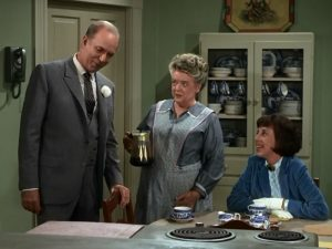 "TASTE OF MAYBERRY--Ann Morgan Guilbert as Ella, who is enthralled by the big plans of Bradford J. Taylor (Jack Albertson) in ""Aunt Bee's Cousin."""