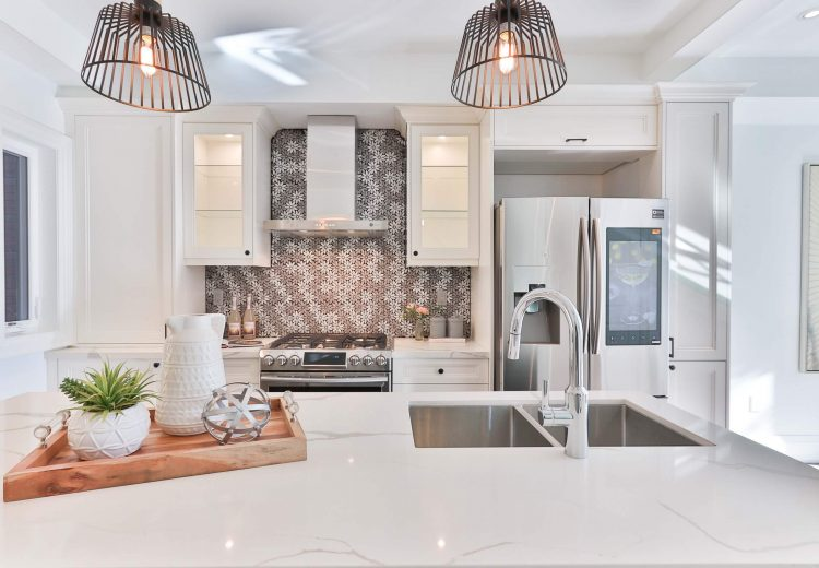 Grey and white backsplash