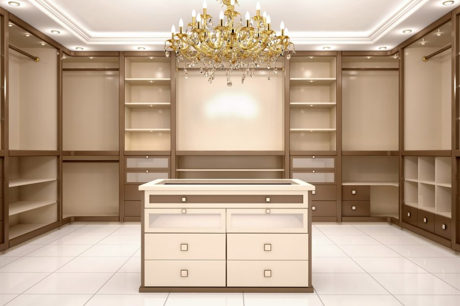 3d illustration of Big empty walk in wardrobe in luxurious house