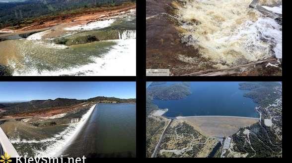 Разрушение плотины вКалифорнии: бреши заделывают при помощи камней