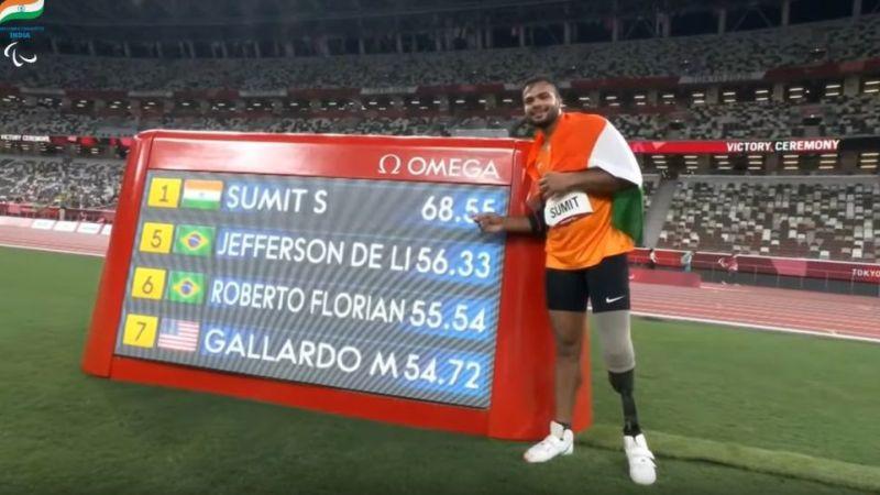 Сумит Антил выиграл вторую золотую медаль для Индии на Паралимпийских играх в Токио и установил новый мировой рекорд
