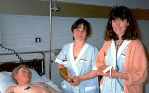 Steve Ryan with two of his nurses before PVI In Bordeau Hospital April 1998