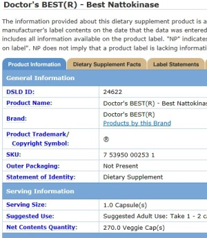 Dietary Supplement Label Database - Doctor's Best Nattokinase