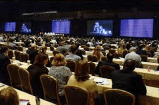 5-floor-to-ceiling video monitors at the Hyatt Regency Orlando: 2016 AF Symposium