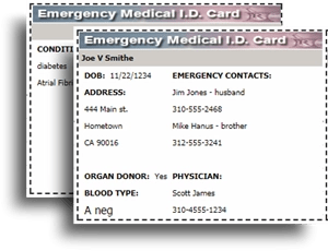 picture about Free Printable Emergency Medical Card known as Up grade 2018: Print a totally free Healthcare Inform I.D. Wallet Card