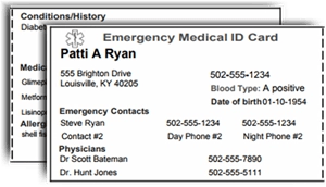photo regarding Free Printable Emergency Medical Card titled Print a no cost Professional medical Inform I.D. Wallet Card