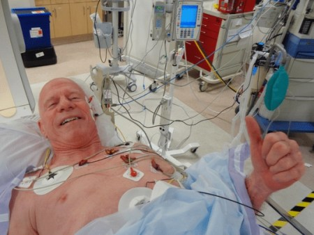 Steve Ryan in the cath lab St John Hospital before ablation on Aug 1, 2019