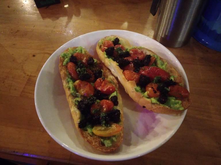 Avocado Bruschetta at our hostel in Da Lat!