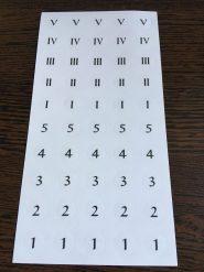 Játékalkatrészek Matrica – Római és Arab számok 1-5-ig