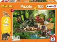 Puzzle Schmidt Puzzle – Croco kutatóállomás 100 db +2 db Schleich figura a dobozban
