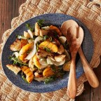 Grilled Panzanella Salad with Peaches and Fennel