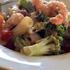 Shrimp, Broccoli Rabe, and Tomatoes Over Penne Pasta