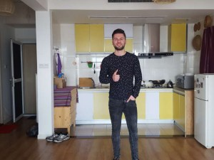 A-house Customer in his new apartment