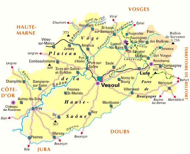 De Haute Saône in Noord oost Frankrijk