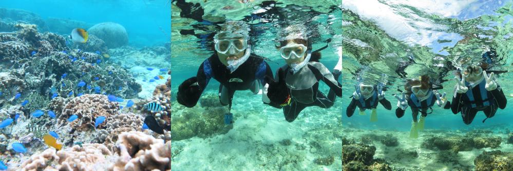 沖縄の海は透明度が高い!ビーチでまったりシュノーケリングを楽しめます