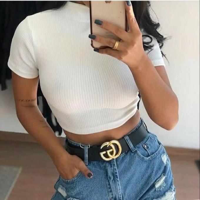 Cropped feminino canelado Gola alta moda - Propria - Blusas Femininas -  Magazine Luiza