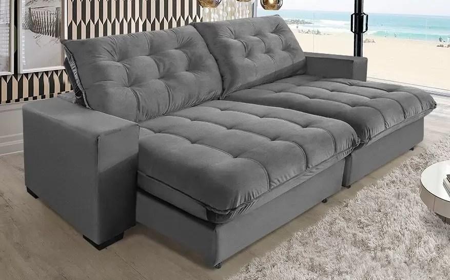 sofa california molas ensacadas e pillow top 3 10m cinza sofa casa