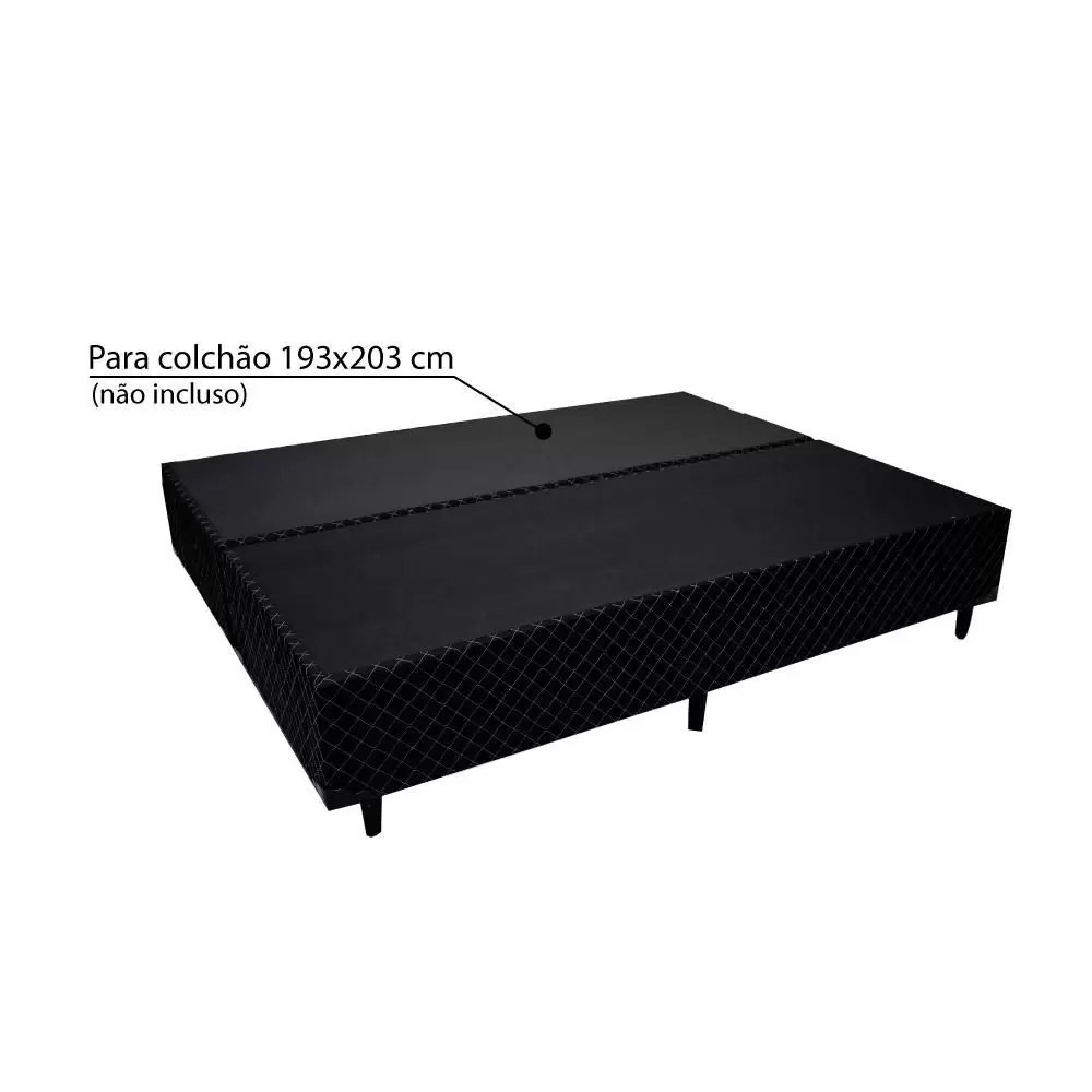 sommier king size soft comfort preto 193x203x37cm mj box e bau