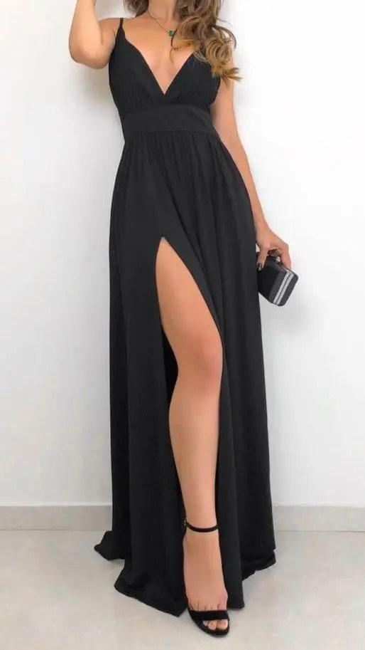 Vestido feminino longo de alça decotado com fenda - DINEIA CINTRA - Vestido  Feminino - Magazine Luiza