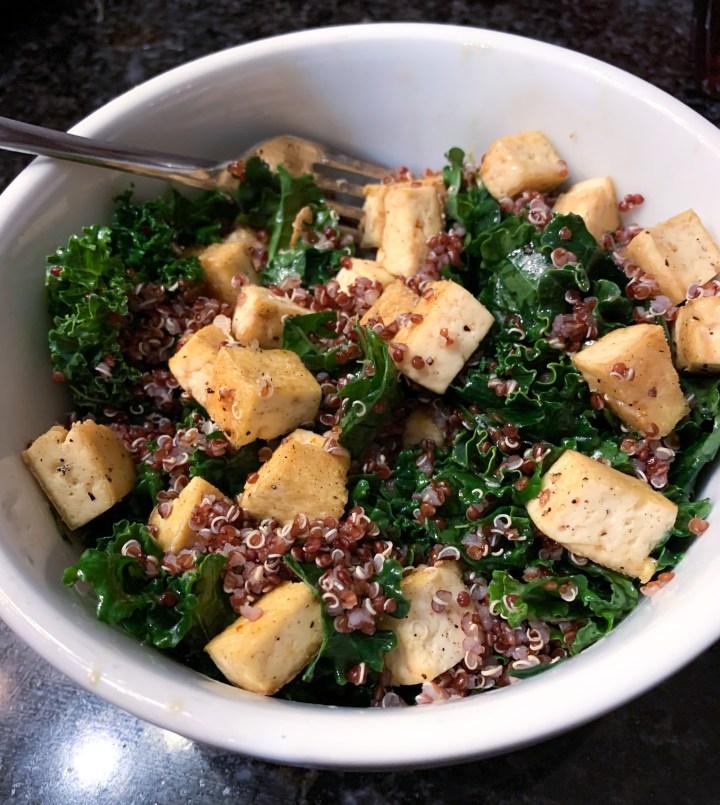 Kale Quinoa Bowl with Maple Sriracha Tofu