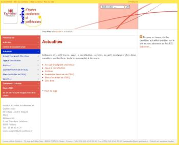 Site Web de l'Institut d'Etudes Acadiennes et Québécoises