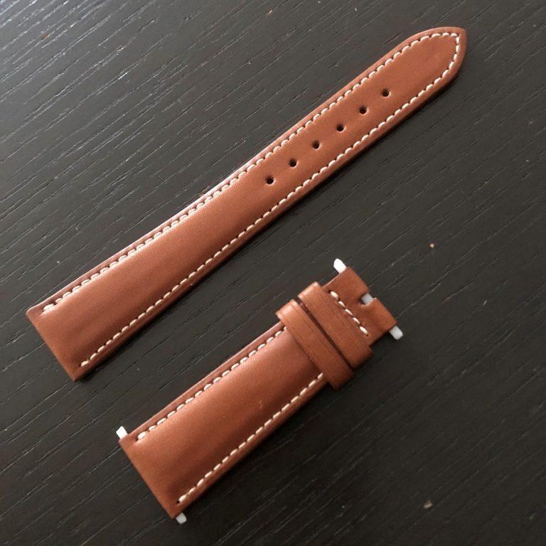 パテックフィリップ(PATEK PHILIPPE)レザー(革)ベルト 20×16mm ブラウン×アイボリーステッチ 未使用6-00