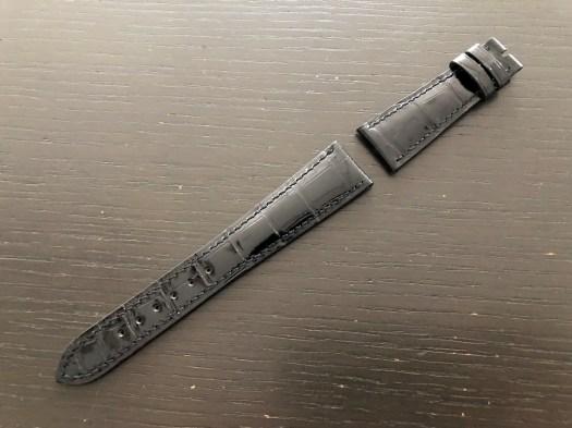 パテックフィリップ(PATEK PHILIPPE)レザー(革)ベルト 21×16mm ブラック×同色ステッチ 未使用9-03