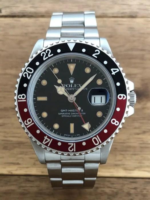 ロレックス GMTマスター2 16760 89番 ブラック(黒)ファットレディ 中古 正面から 名古屋