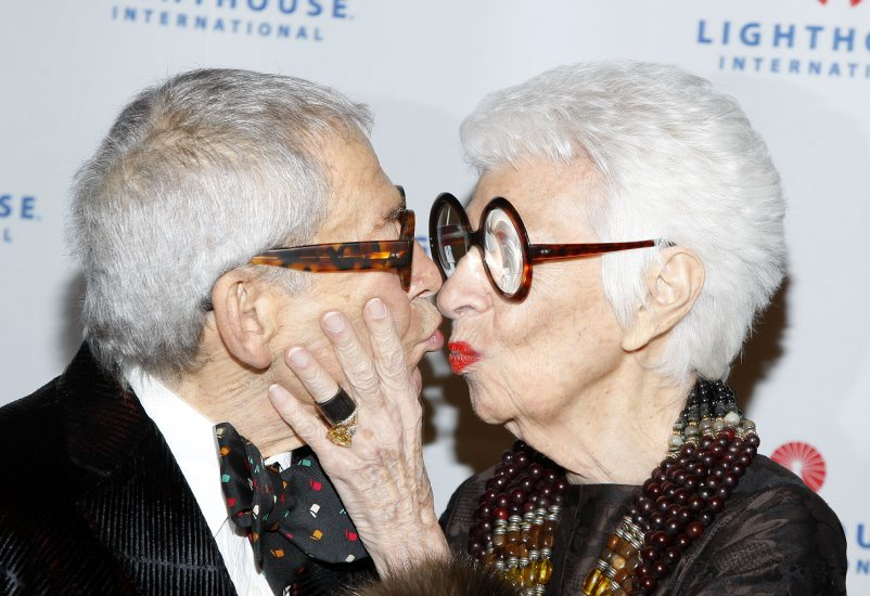 Fashion icon Iris B. Apfel (R) and her husband Clark Apfel attend Lighthouse International's Salute to the Arts at Cipriani 42nd Street on October 20, 2008 in New York City. © RD/ Leon / Retna Digital