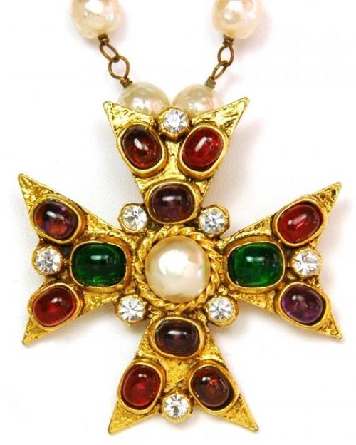 Coco Chanel Jewellery | Byzantine style Cross brooch-pendant |