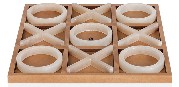 Armani/Casa | Leather and Wood Framed Tick Tack Toe with Alabaster Pieces |