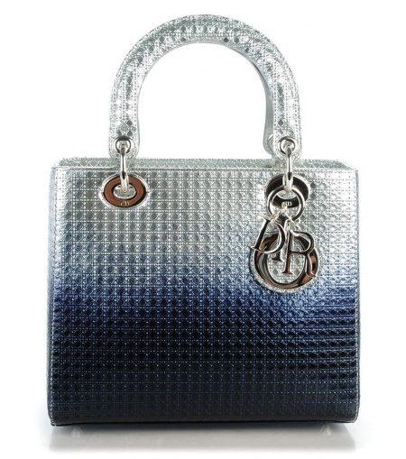 Silver Blue Metallic Gradient Micro-Cannage
