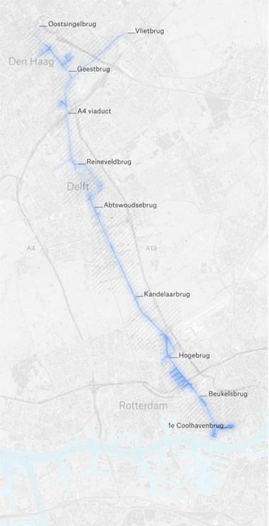 De gehele route langs de Delftse Schie, Zuidvliet en Rijn-Schiekanaal