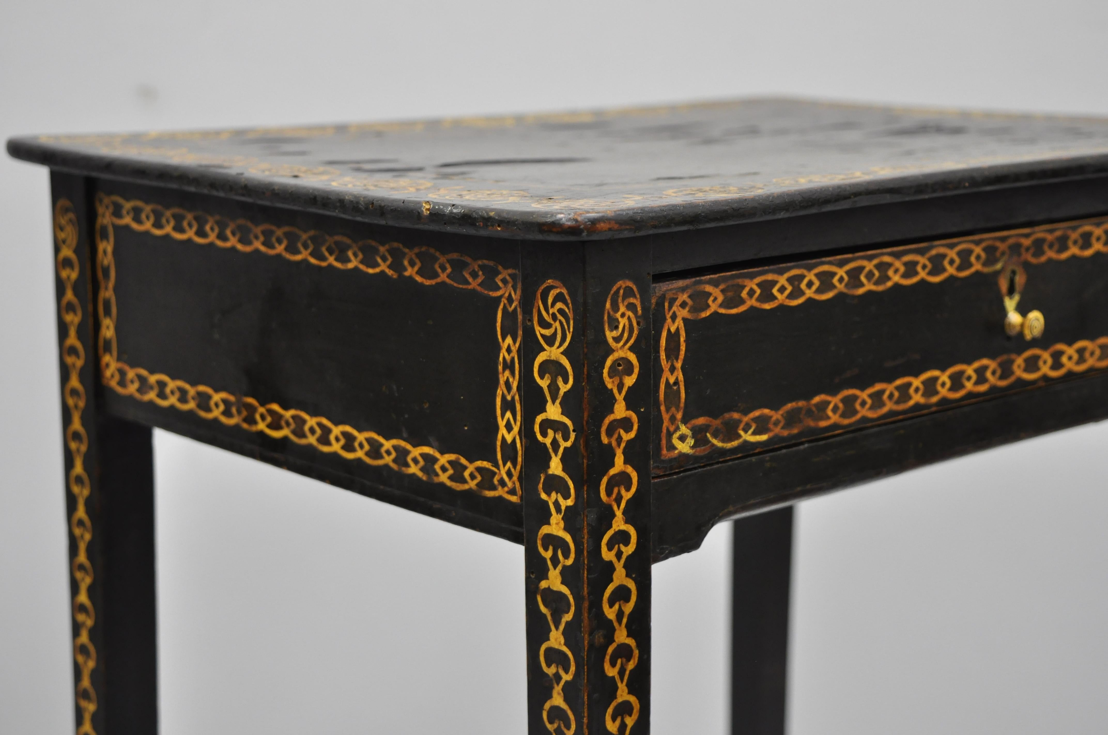 Black Lacquer Hand Painted English Victorian Side End Table