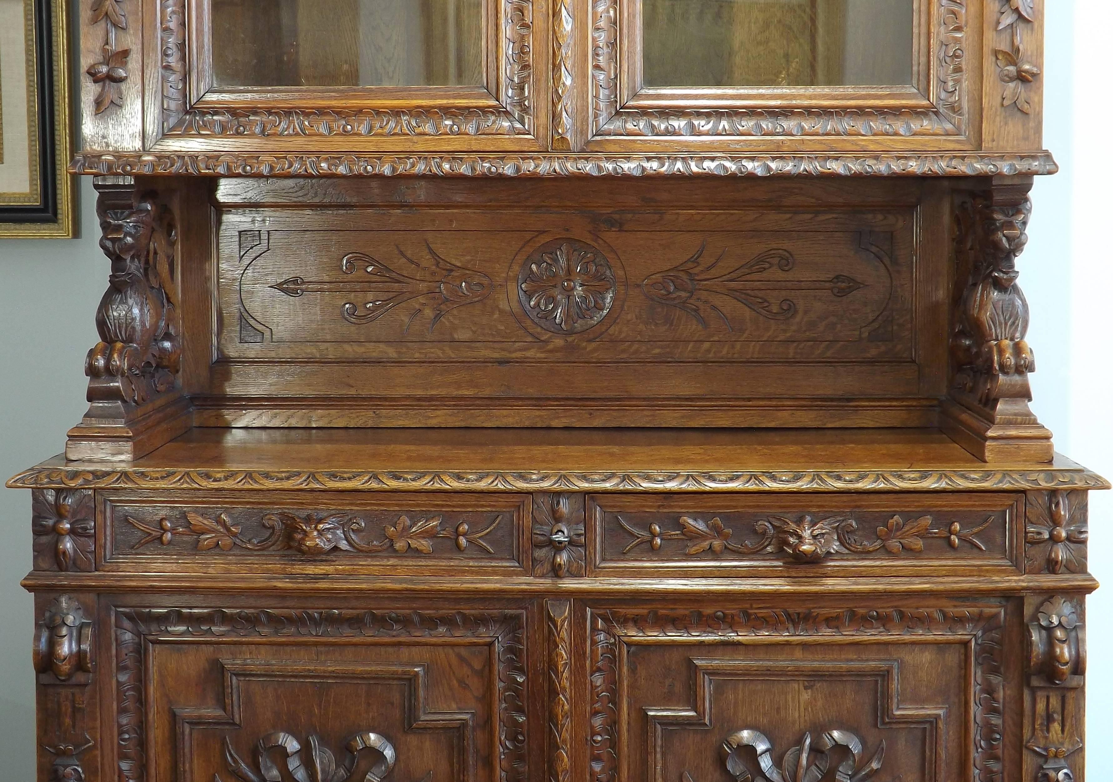 19th Century German Black Forest Carved Hunting Cabinet At