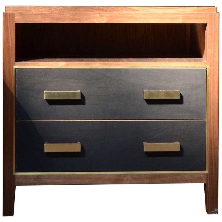 Abuelo Mexican Midcentury Nightstand 2 Drawer Open Shelf Walnut Saddle Leather
