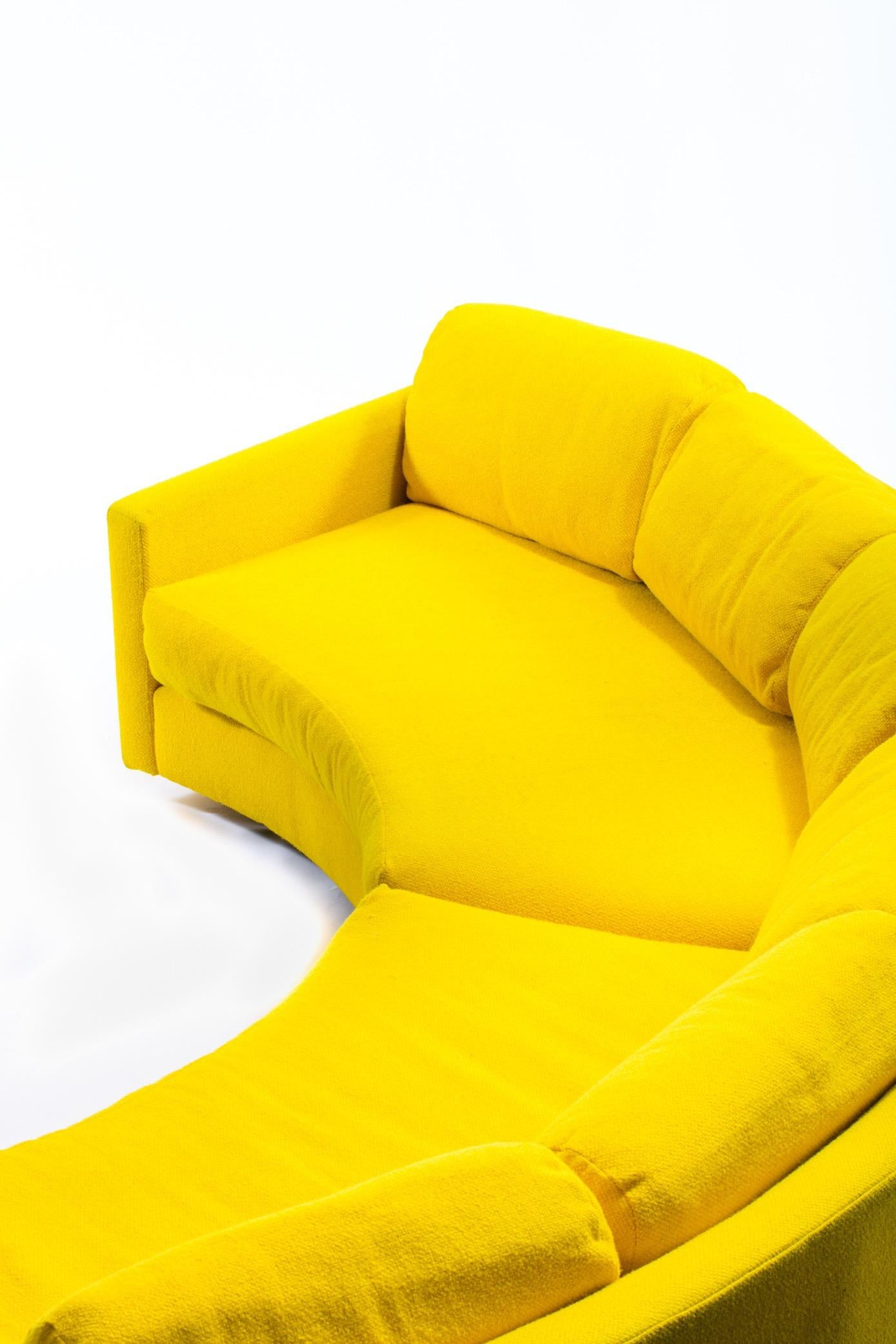 adrian pearsall pit style yellow semi circular sofa 3 piece sectional