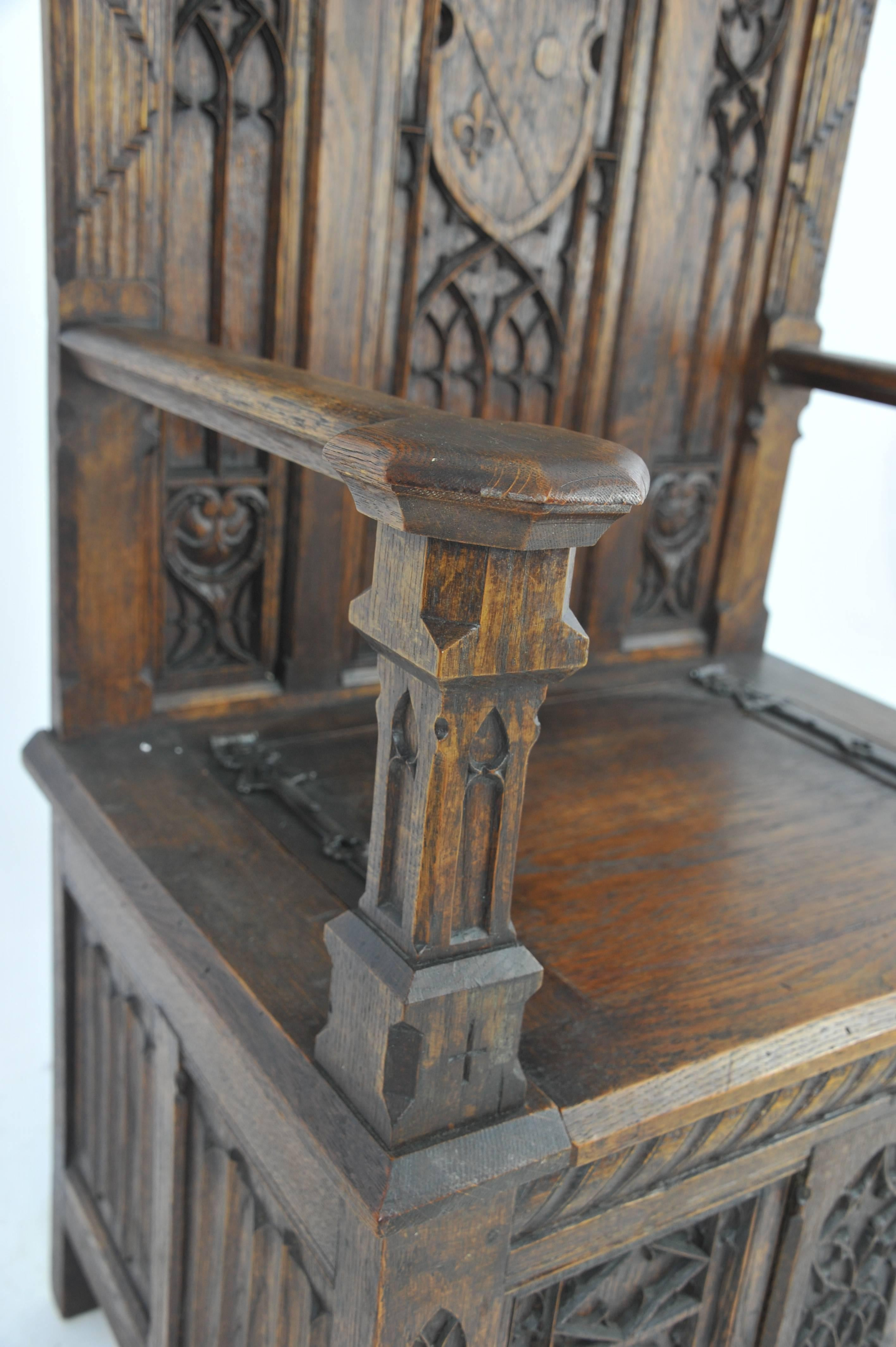 Antique Hall Chair Carved Oak Bench Gothic Chair France