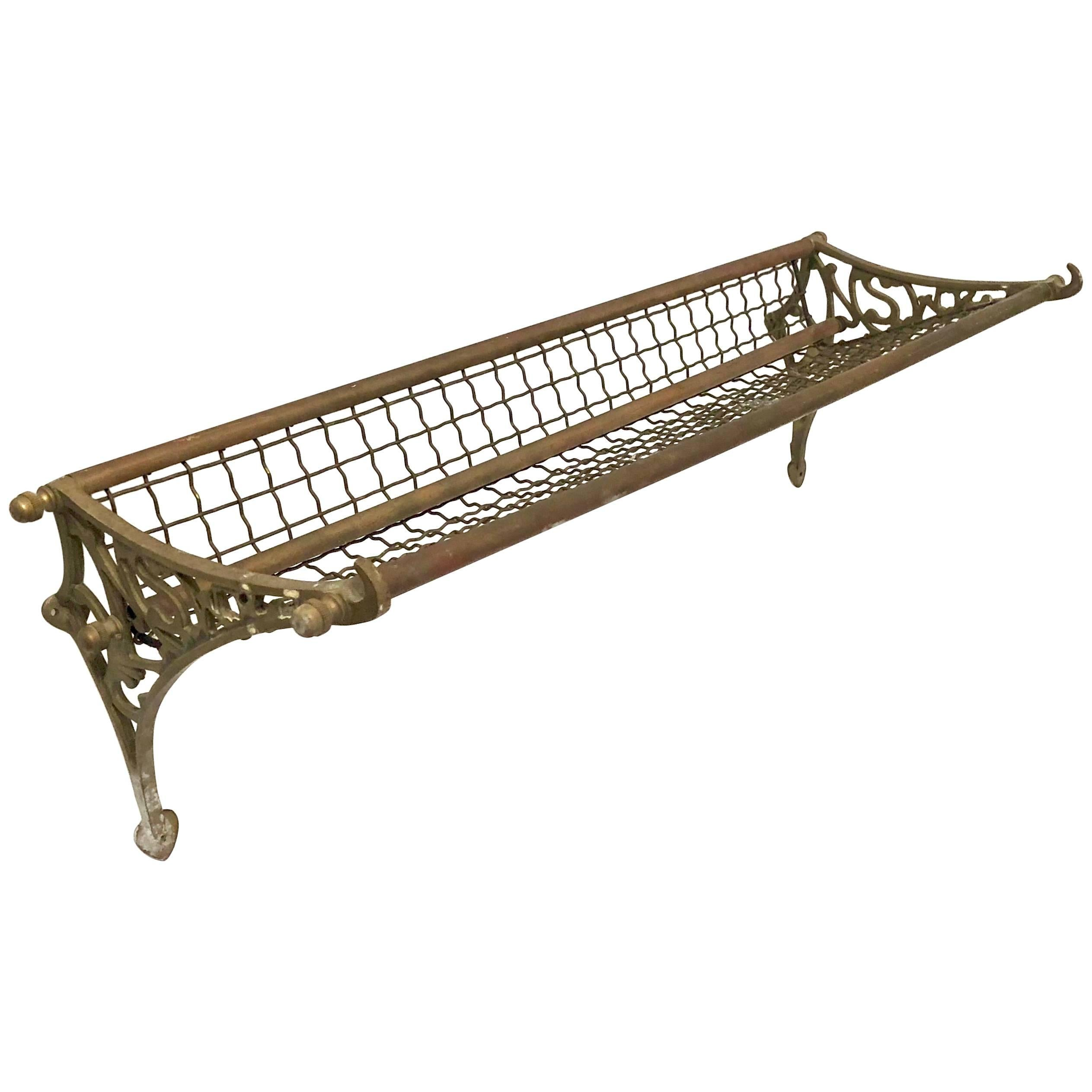antique patinated copper and brass bus train luggage rack