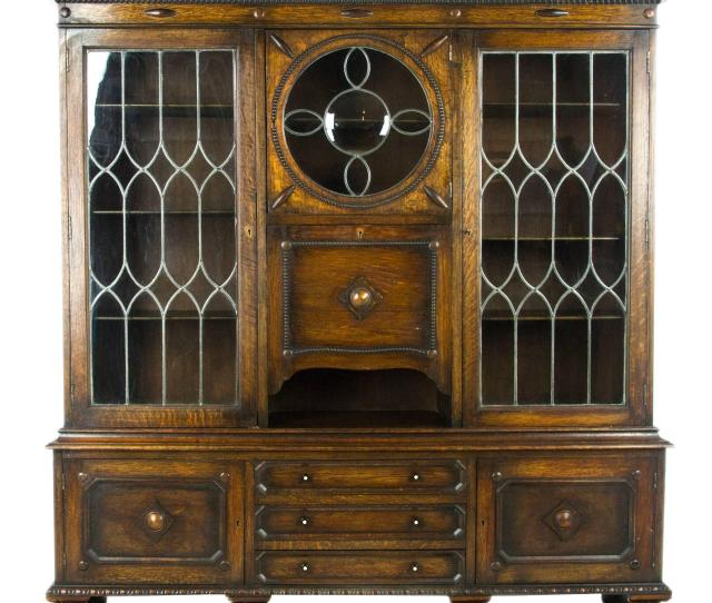 Antique Secretary Desk Oak Bookcase Scotland  Antique Furniture For Sale