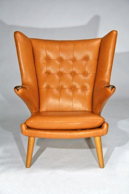 Magnificent Hans Wegner Papa Bear Chair Leather Ottoman Replica Italian Ibusinesslaw Wood Chair Design Ideas Ibusinesslaworg